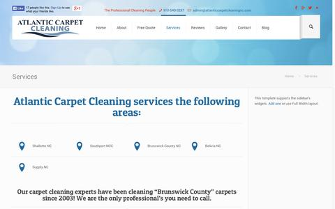Screenshot of Services Page atlanticcarpetcleaningnc.com - Services - Atlantic Carpet CleaningAtlantic Carpet Cleaning - captured Oct. 4, 2014