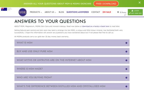 Screenshot of FAQ Page mismo.com.au - Questions Answered - MiSMo - captured Oct. 18, 2018