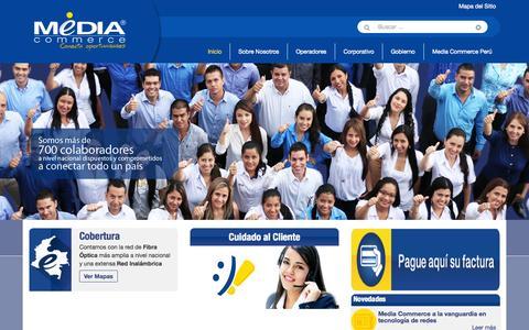 Screenshot of Home Page mediacommerce.net.co - Media Commerce Telecomunicaciones | Conecta Oportunidades - captured June 17, 2015