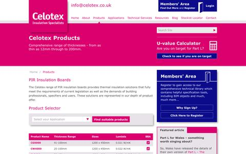 Screenshot of Products Page celotex.co.uk - Celotex PIR Insulation Boards - captured Oct. 2, 2014