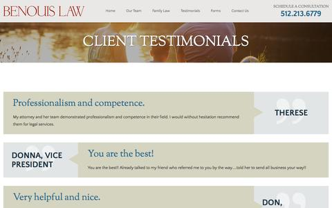 Screenshot of Testimonials Page benouislaw.com - Divorce Attorney in Travis County | Testimonials - captured Jan. 1, 2016