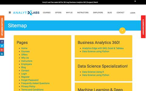 Screenshot of Site Map Page analytixlabs.co.in - Sitemap - captured July 30, 2018