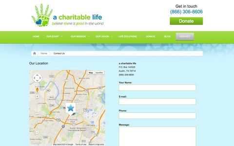 Screenshot of Contact Page acharitablelife.com - Contact Kidney Charity Company a charitable life | non profit organization - captured Sept. 27, 2014