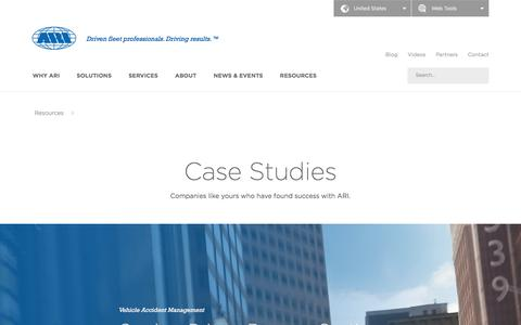 Screenshot of Case Studies Page arifleet.com - Case Studies - ARI - captured Aug. 12, 2018