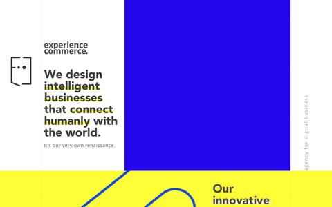 Screenshot of Home Page experiencecommerce.com - Digital Agency: Agency for Digital Business Experience Commerce - captured Nov. 5, 2018