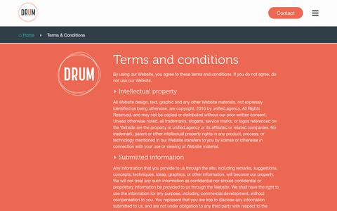 Screenshot of Terms Page drumagency.com - DRUM Agency | Terms & Conditions - captured Aug. 8, 2018
