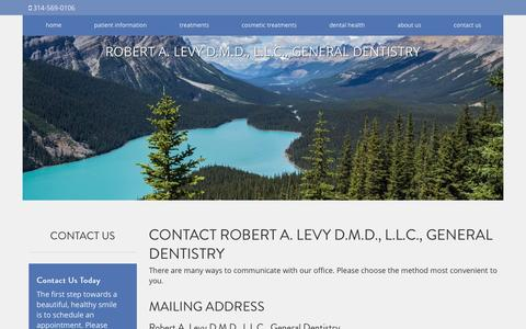 Screenshot of Contact Page robertlevydental.com - Contact Robert A. Levy D.M.D., L.L.C., General Dentistry St. Louis MO - captured Dec. 1, 2016