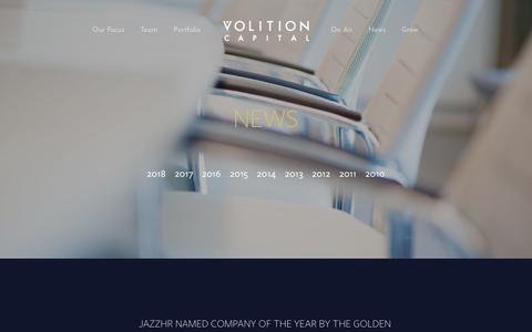 Screenshot of Press Page volitioncapital.com - News - captured Oct. 25, 2019