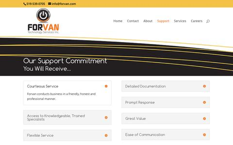 Screenshot of Support Page forvan.com - Support Committment - Forvan Technologies Inc. 519-539-0705 - captured Nov. 25, 2016