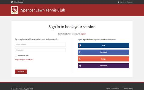 Screenshot of Login Page clubspark.uk - ClubSpark / Account / Sign in - captured Feb. 2, 2018
