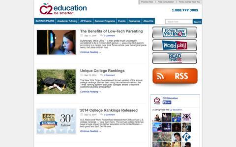Screenshot of Blog c2educate.com - The Be Smarter Blog | C2 Education Centers - captured Sept. 24, 2014