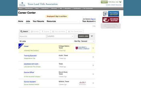 Screenshot of Jobs Page tlta.com - Texas Land Title Association (TLTA), TLTA Career Center|Find Your Career Here - captured Oct. 9, 2014