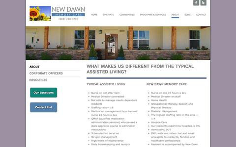 Screenshot of About Page newdawnal.com - Alzheimer Assisted Living - Memory Care Assisted Living - New DawnNew Dawn Memory Care - captured Oct. 7, 2014