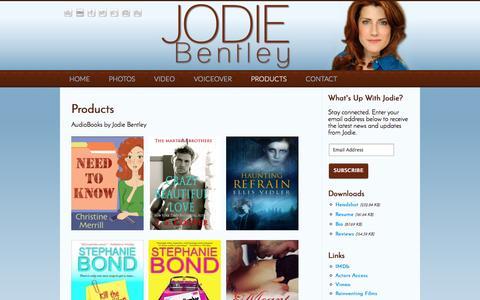 Screenshot of Products Page jodiebentley.com - Jodie Bentley | Products - captured Oct. 6, 2014