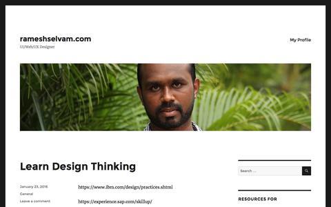 Screenshot of Home Page rameshselvam.com - rameshselvam.com - UI/Web/UX Designer - captured Feb. 13, 2016