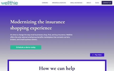 Screenshot of Home Page wellthie.com - Modernizing the insurance shopping experience | Wellthie - captured Nov. 2, 2018