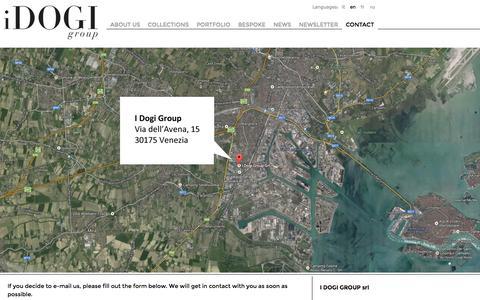 Screenshot of Contact Page idogi.com - Contact - I Dogi Group - Murano Glass - Venice - captured Oct. 3, 2014