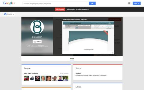 Screenshot of Google Plus Page google.com - Bidsketch - About - Google+ - captured Oct. 23, 2014