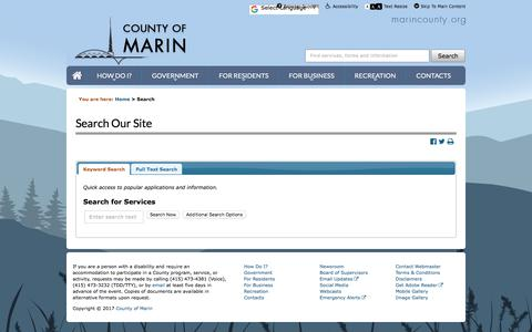 Screenshot of Services Page marincounty.org - County of Marin - Services and Site Searches - captured Oct. 28, 2017