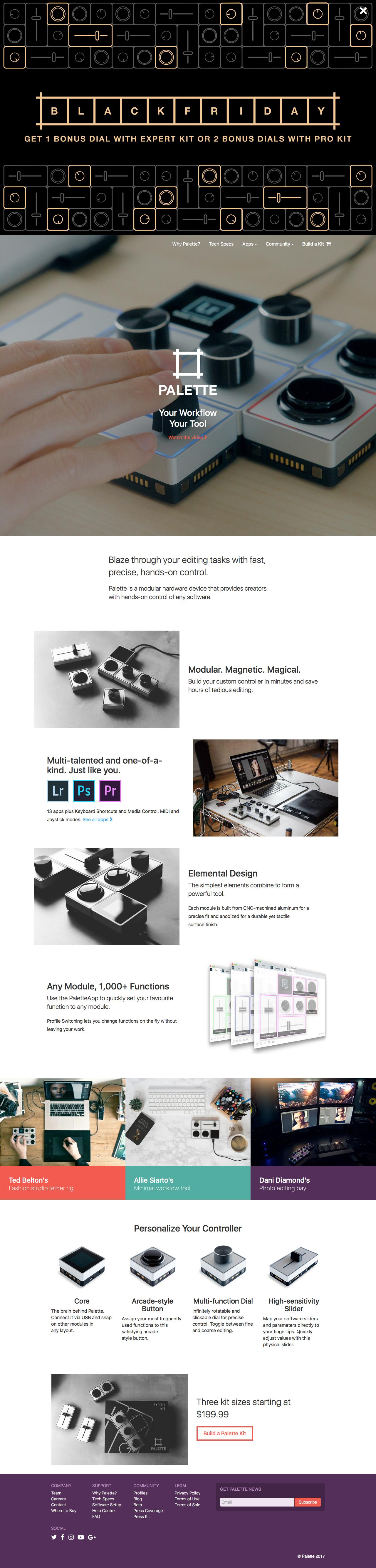Screenshot of palettegear.com - Palette Gear: Hands-on Control of your Favourite Software - captured Nov. 26, 2017