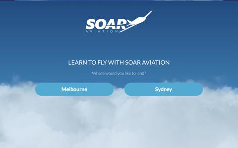 Screenshot of Home Page soaraviation.com.au - Soar Aviation Australia | Flight Training & Theory Courses in Melbourne and Sydney - captured Jan. 26, 2015