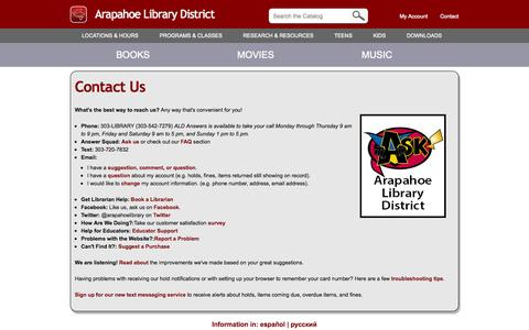 Screenshot of Contact Page arapahoelibraries.org - Contact Us | Arapahoe Library District - captured Sept. 18, 2014