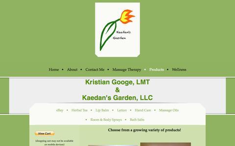 Screenshot of Products Page kaedansgarden.com - Products - Kaedan's Garden, LLC - captured Sept. 30, 2014