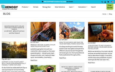 Screenshot of Blog renogy.com - Blog - captured July 13, 2019