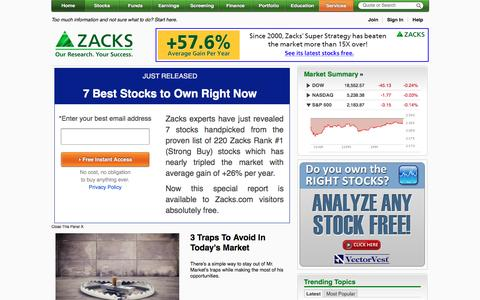 Screenshot of Home Page zacks.com - Zacks Investment Research: Stock Research, Analysis, & Recommendations - captured Aug. 20, 2016