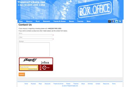 Screenshot of Contact Page theatretickets.net - Contact TheatreTickets.net - captured Oct. 7, 2014
