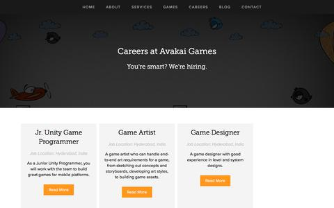 Screenshot of Jobs Page avakaigames.com - Careers | Avakai Games - captured July 31, 2018