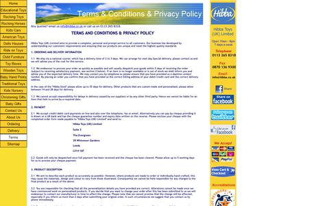 Screenshot of Terms Page hibba.co.uk - Terms and Conditions - captured Sept. 28, 2018