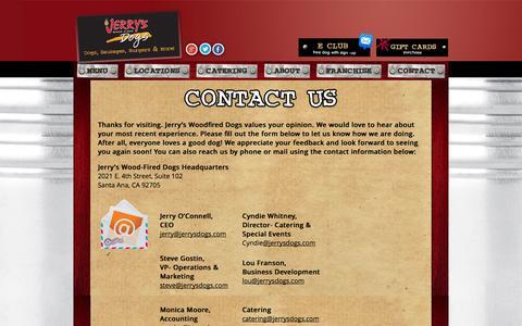 Screenshot of Contact Page jerrysdogs.com - Contact - Jerrys Dogs- Official Website : Jerrys Dogs- Official Website - captured Oct. 6, 2014