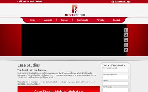 Screenshot of Case Studies Page keechmedia.com - Case Studies   Keech Media - captured Sept. 30, 2014