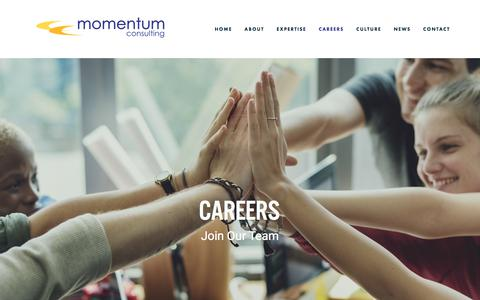 Screenshot of Jobs Page momentumcc.com - Careers — Momentum Consulting Corporation - captured June 10, 2018