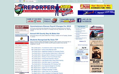 Screenshot of Home Page Site Map Page hillsbororeporter.com - The Reporter/KHBR - captured Oct. 6, 2014