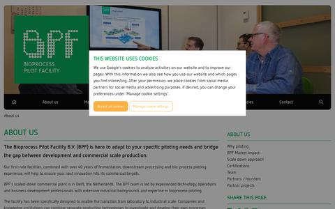 Screenshot of About Page bpf.eu - About us » Bio Process Facility  | We know how to make industrial bioprocesses work at scale - captured Oct. 5, 2018