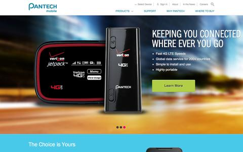 Screenshot of Home Page pantechusa.com - Pantech USA | Pantech Mobile - A New Way To Stay Connected - captured Dec. 16, 2015