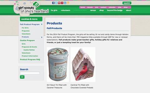 Screenshot of Products Page gsoh.org - Products | Girl Scouts of Ohio's Heartland - captured Nov. 2, 2014