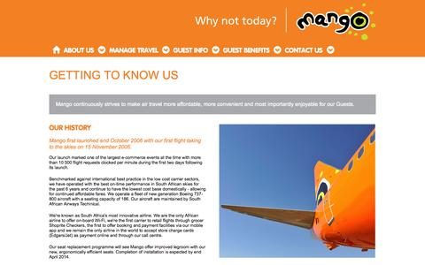 Screenshot of About Page flymango.com - Getting to Know Us - captured Sept. 22, 2014