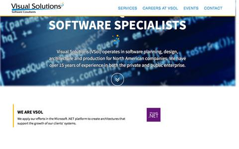 Screenshot of Home Page vsol.us - Visual Solutions Software Consultants - captured Dec. 9, 2016