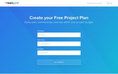 Screenshot of Signup Page teamgantt.com - Signup Page - captured Sept. 22, 2018