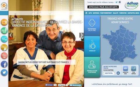 Screenshot of Home Page adhapservices.fr - ADHAP | L'assistance d'un professionnel, ça change tout. - captured Sept. 24, 2014