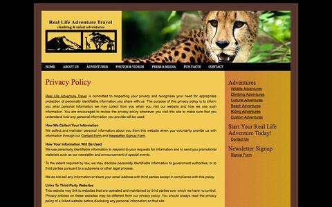 Screenshot of Privacy Page reallifeadventuretravel.com - Real Life Adventure Travel - Privacy Policy - captured Oct. 26, 2014