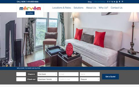 Screenshot of Home Page maryamsuites.com - Short Term Furnished Apartment Rentals in Toronto   Mary-am Suites - captured Oct. 16, 2018