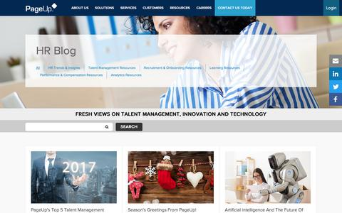 Screenshot of Blog pageuppeople.com - HR Blog - The Latest in Talent Management from PageUp - captured Dec. 28, 2016
