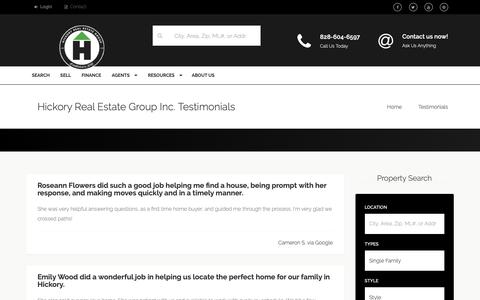 Screenshot of Testimonials Page hickoryrealestategroup.com - Hickory Real Estate Group Inc. Testimonials - captured Sept. 28, 2018