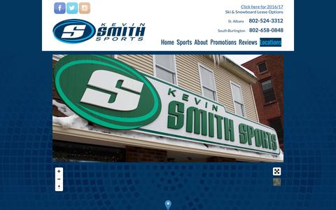 Screenshot of Locations Page kevinsmithsports.com - Contact Kevin Smith Sports St. Albans VT | 802-524-3312 - captured June 9, 2017