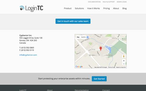 Screenshot of Contact Page logintc.com - Contact | LoginTC - Simple and Secure Two-Factor Authentication - captured Feb. 2, 2016