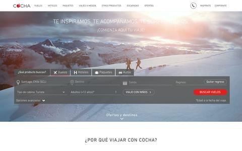Screenshot of Home Page cocha.com - COCHA | lo mejor en vuelos, hoteles, paquetes, destinos y más - captured Aug. 10, 2017